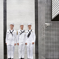 Black and White Wall three sailors, Brooklyn, New York